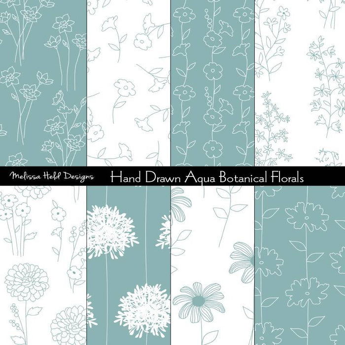 Aqua Blue and White Hand Drawn Botanical Florals Digital Paper & Backgrounds Melissa Held Designs    Mygrafico