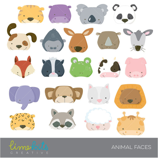 Animal Faces Clipart  Lime Bits Creative    Mygrafico