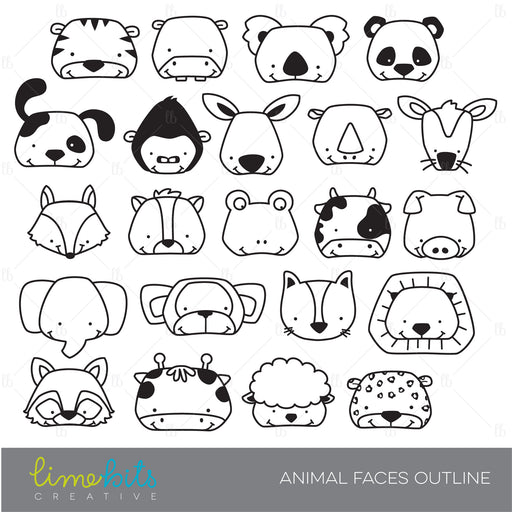 Animal Faces Digital Stamps  Lime Bits Creative    Mygrafico