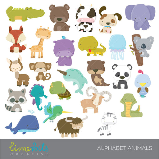 Alphabet Animals Clipart  Lime Bits Creative    Mygrafico