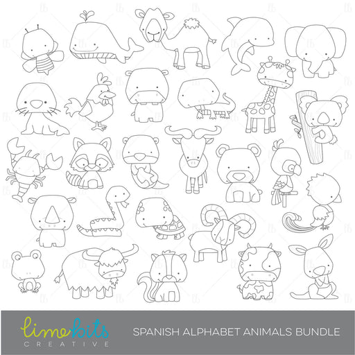 Spanish Alphabet Animals Digital Stamps  Limebits Creative    Mygrafico