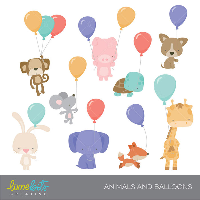 Little Animals and Balloons Clipart Lime Bits Creative    Mygrafico