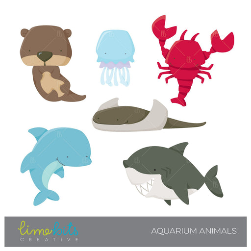 Aquarium Animals Clipart  Lime Bits Creative    Mygrafico