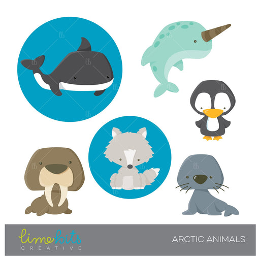 Arctic Animals Clipart  Lime Bits Creative    Mygrafico