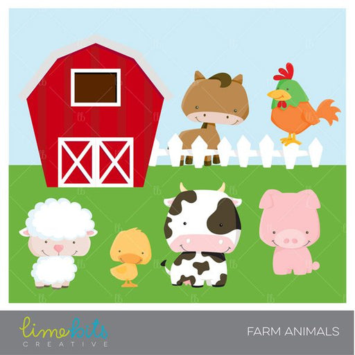 Farm Animals Clipart  Lime Bits Creative    Mygrafico