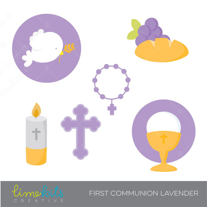First Communion Elements Clipart, Lavender clipart Lime Bits Creative    Mygrafico