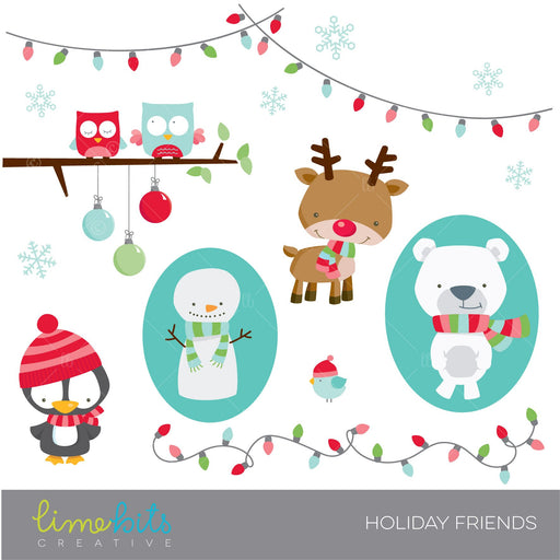 Cute Holiday Animal Friends Clipart Lime Bits Creative    Mygrafico