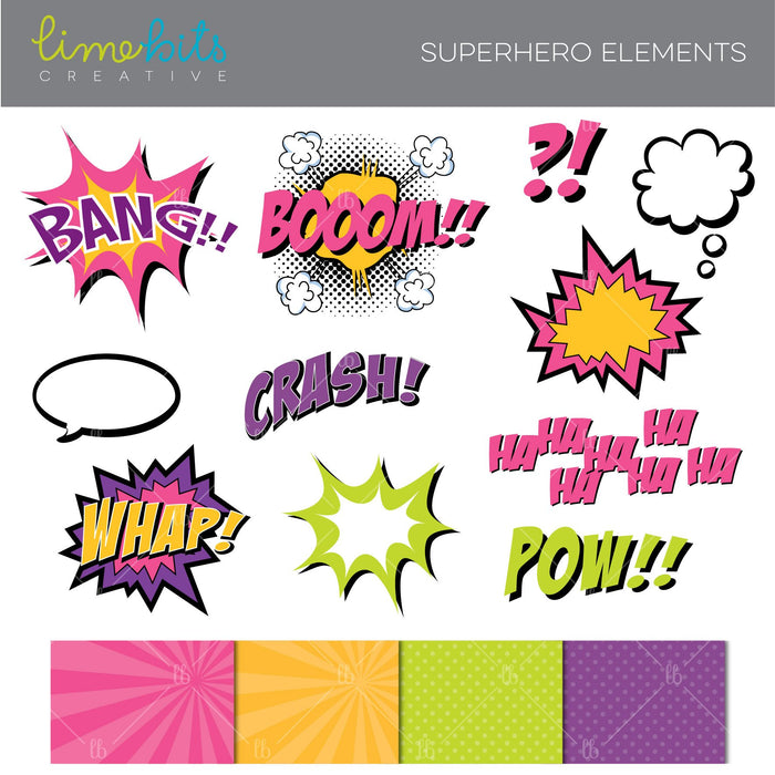 Superhero Elements Clipart Pink Clipart Lime Bits Creative    Mygrafico