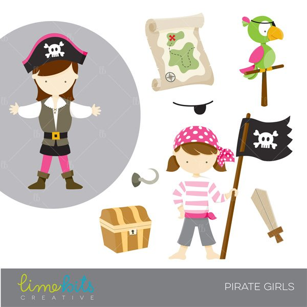 Pirate Girls Clipart  Lime Bits Creative    Mygrafico