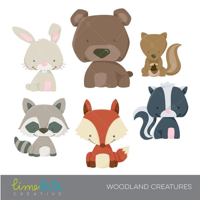 Woodland Little Animals Clipart  Lime Bits Creative    Mygrafico