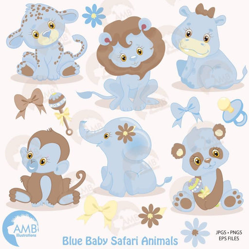 Jungle Animals clipart, Jungle animal babies clipart, Nursery Blue Baby Animals, Jungle Clip art, AMB-1211 Cliparts AMBillustrations    Mygrafico