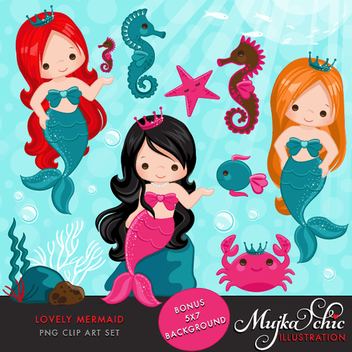 Lovely Little Mermaid Clipart & Under sea graphics- Commercial Use Instant Download Mermaid Graphics  Mujka Chic    Mygrafico