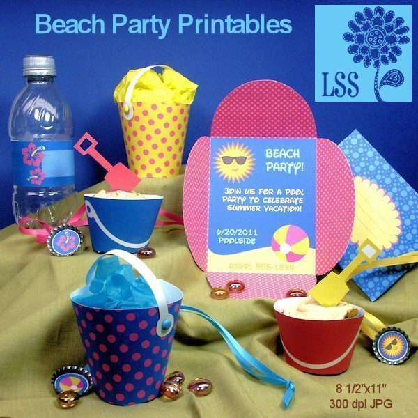Beach Party Printables Party Printable Templates Lindsay's Stamp Stuff    Mygrafico