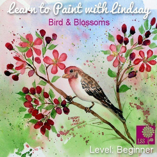 Learn to Paint Bird and Blossoms Tutorial Lindsay's Stamp Stuff    Mygrafico