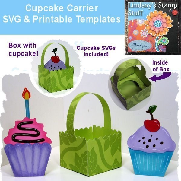 Cupcake Carrier SVG SVG Cutting Templates Lindsay's Stamp Stuff    Mygrafico