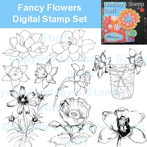Fancy Flowers Digital Stamps  Lindsay's Stamp Stuff    Mygrafico