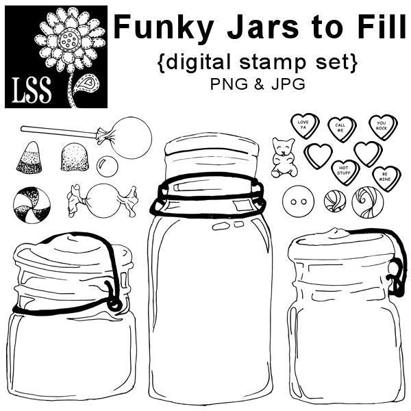 Funky Jar Digital Stamps  Lindsay's Stamp Stuff    Mygrafico