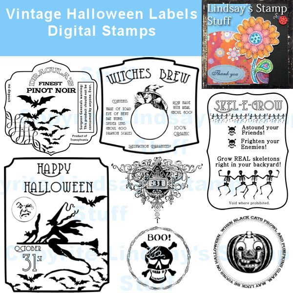 Vintage Halloween Labels  Lindsay's Stamp Stuff    Mygrafico