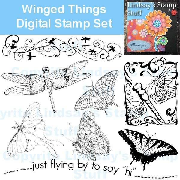 Winged Things Digital Stamps Digital Stamps Lindsay's Stamp Stuff    Mygrafico