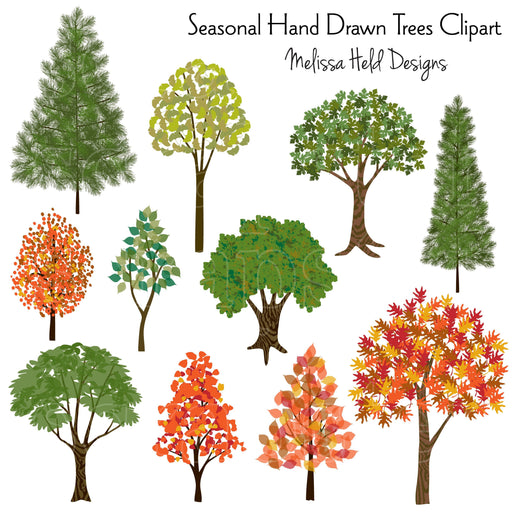 Seasonal Hand Drawn Trees Clipart Printable Templates Melissa Held Designs    Mygrafico