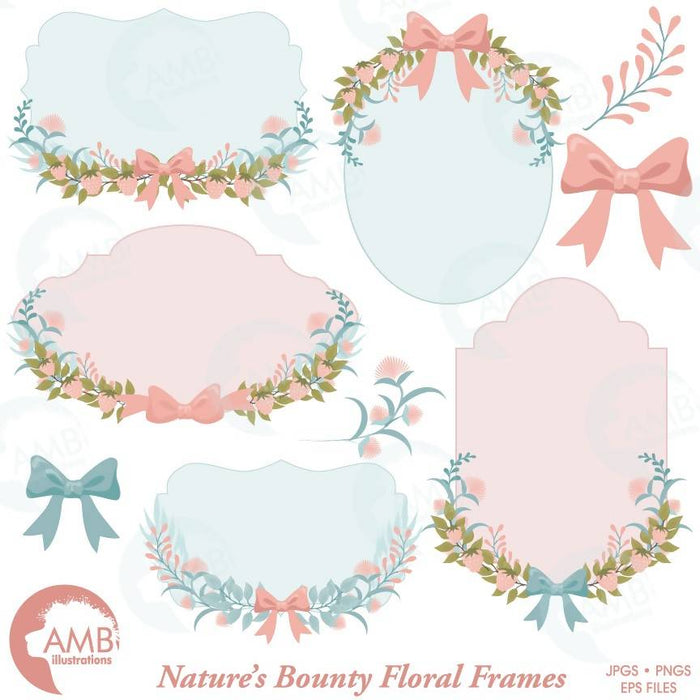 Floral Frames, Botanical clipart Frames, Wedding forest clipart, Labels, Wild flowers clipart, AMB-1479 Cliparts AMBillustrations    Mygrafico