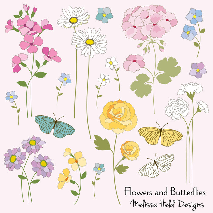 Flowers and Butterflies Clipart Cliparts Melissa Held Designs    Mygrafico