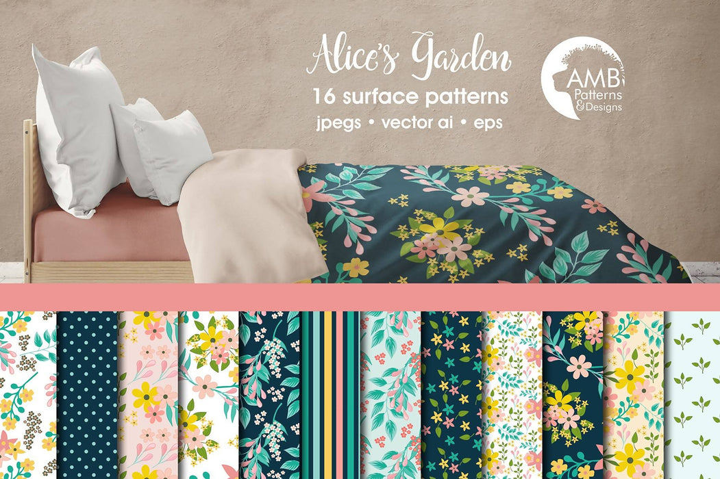 Floral papers, Secret Garden Digital Paper, Shabby Chic papers, Alice's garden paper, scrapbook papers, flower paper, AMB-1834 Digital Paper & Backgrounds AMBillustrations    Mygrafico