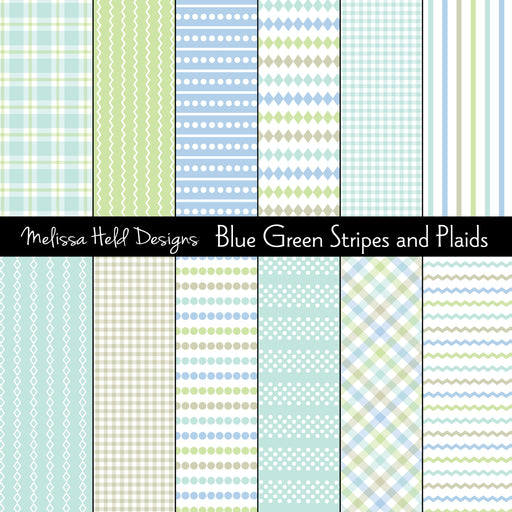 Blue  Green Stripes and Plaids Digital Paper & Backgrounds Melissa Held Designs    Mygrafico