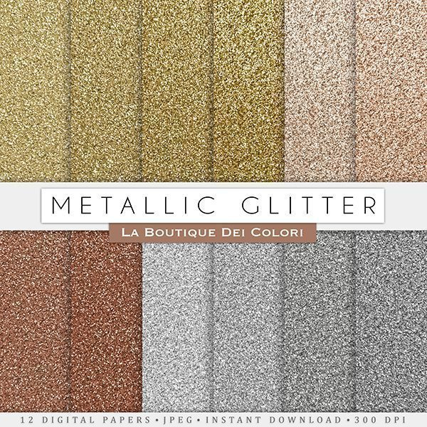 Metallic Glitter Digital Paper Textures  La Boutique Dei Colori    Mygrafico