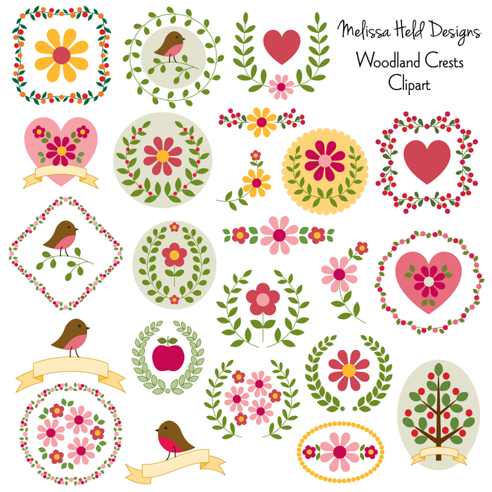 Woodland Crests Clipart Clipart Melissa Held Designs    Mygrafico