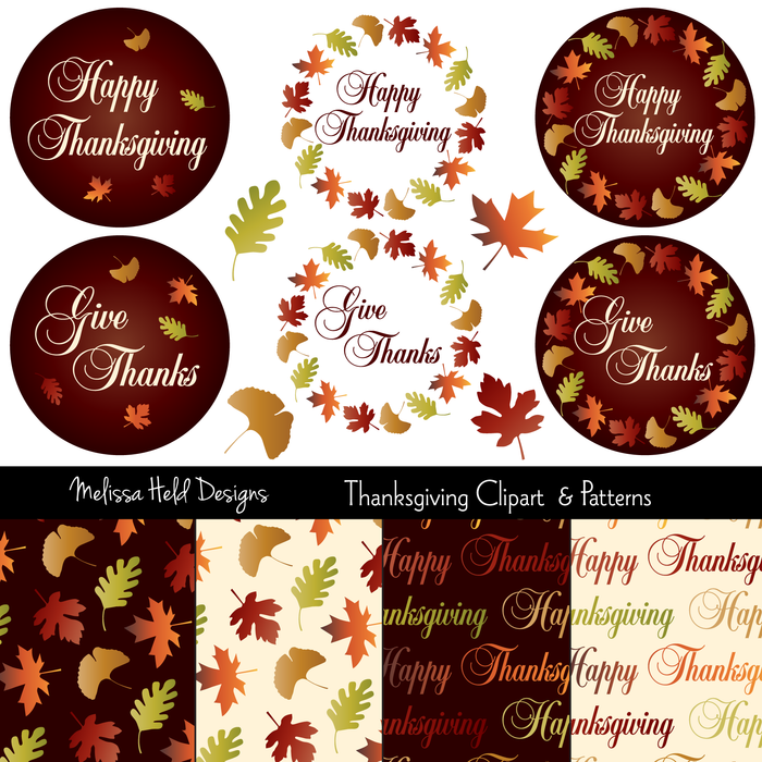 Thanksgiving Clipart and Patterns Bundles Melissa Held Designs    Mygrafico