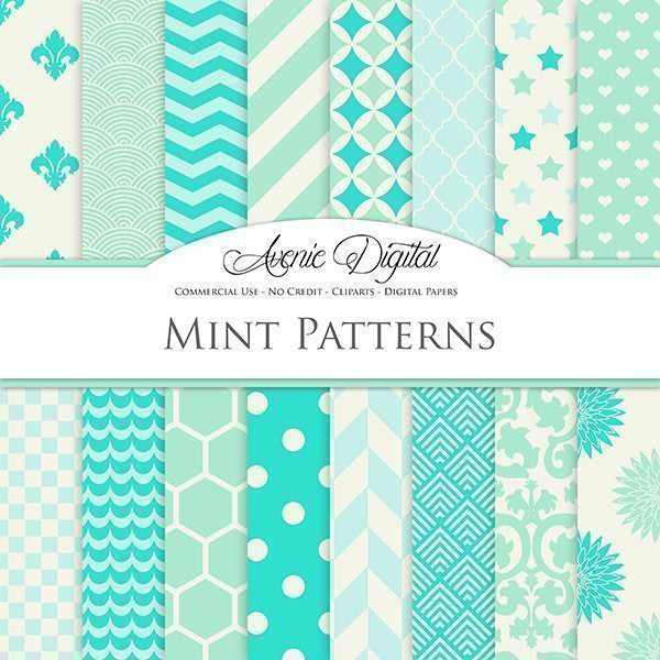 Mint and Aqua Digital Paper  Avenie Digital    Mygrafico