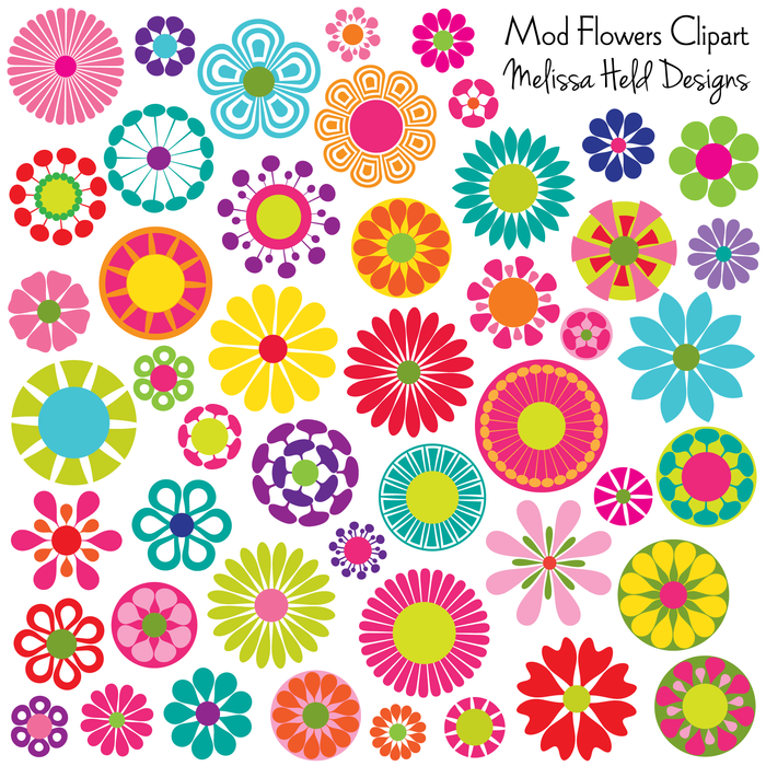 Mod Flowers Clipart Clipart Melissa Held Designs    Mygrafico