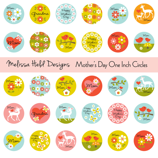 Mother's Day One Inch Circles Cliparts Melissa Held Designs    Mygrafico