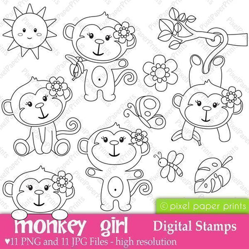 Monkey Girl Stamps  Pixel Paper Prints    Mygrafico