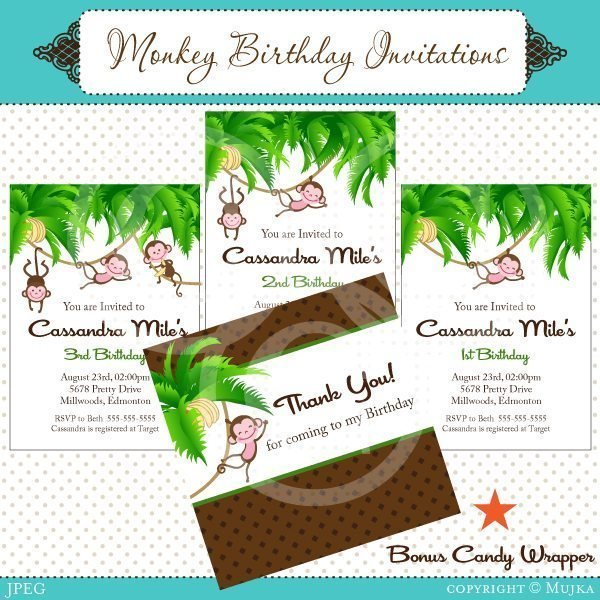 Monkey Birthday Invitation Set  Mujka Chic    Mygrafico
