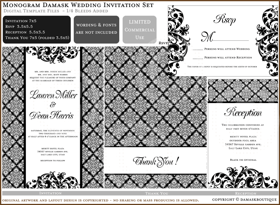 Monogram Damask Wedding Template  Mujka Chic    Mygrafico