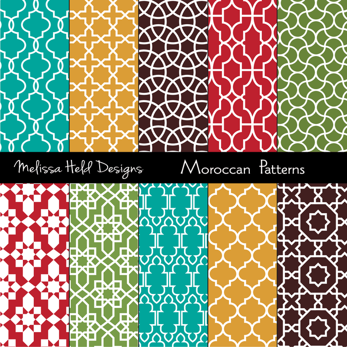 Moroccan Patterns Digital Papers & Backgrounds Melissa Held Designs    Mygrafico