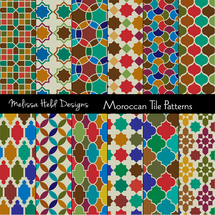 Moroccan Tile Patterns Digital Papers & Backgrounds Melissa Held Designs    Mygrafico