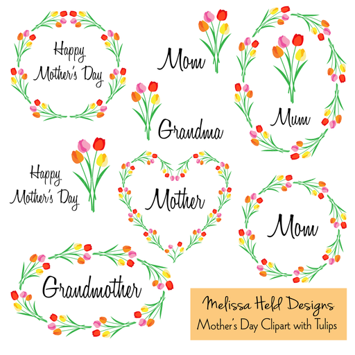 Mother's Day Set with Tulips Cliparts Melissa Held Designs    Mygrafico