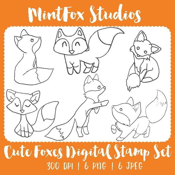Cute Foxes Lineart Digital Stamp Set Digital Stamps Mintfox Studios    Mygrafico