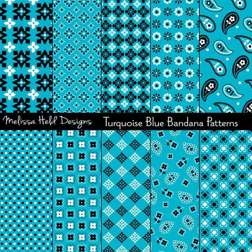 Turquoise Blue Bandana Patterns Digital Paper & Backgrounds Melissa Held Designs    Mygrafico