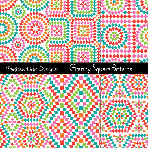 Granny Square Patterns Digital Paper & Backgrounds Melissa Held Designs    Mygrafico