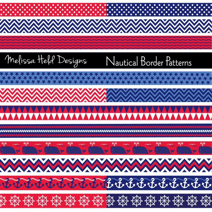 Nautical Border Patterns Digital Papers & Background Melissa Held Designs    Mygrafico