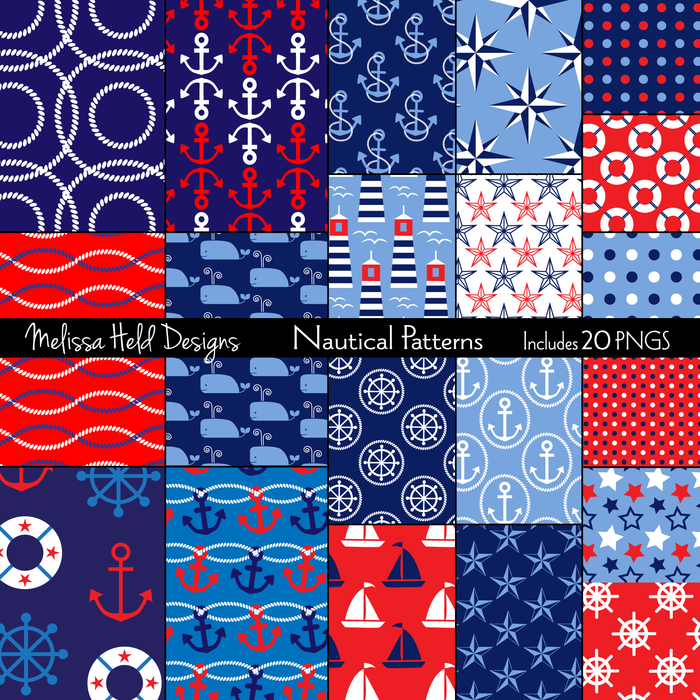 Nautical Patterns Digital Papers & Background Melissa Held Designs    Mygrafico