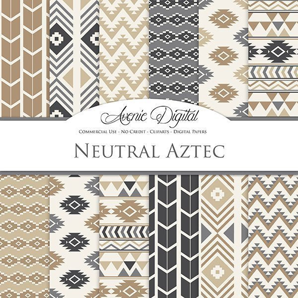 Neutral Aztec Digital Paper  Avenie Digital    Mygrafico