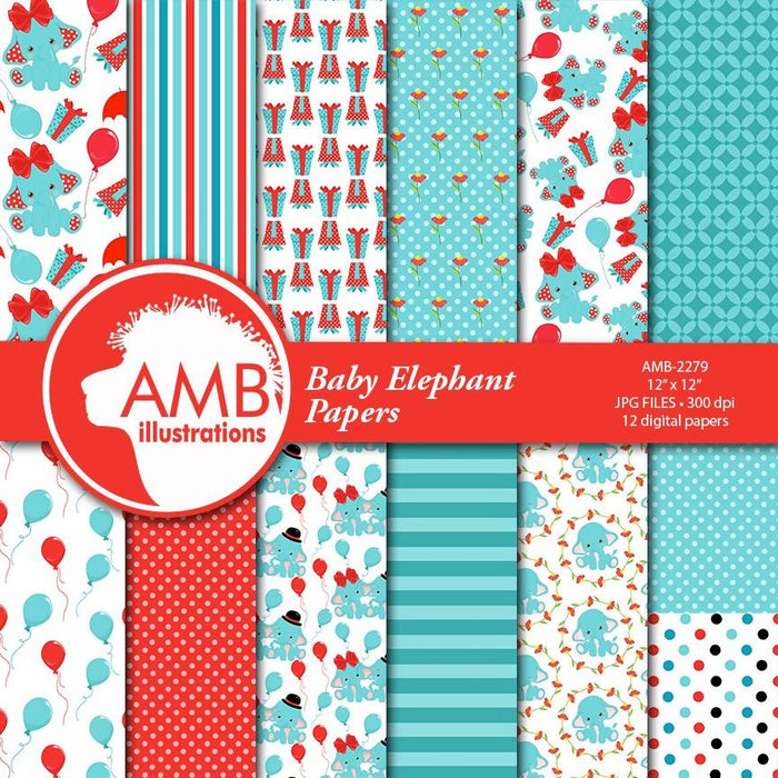 Elephant papers, Elephant in Red and teal papers, Baby elephant patterns, red and teal elephants papers, Commercial use AMB-2279 Digital Paper & Backgrounds AMBillustrations    Mygrafico
