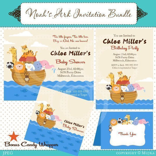 Noah's Ark Invitation Bundle  Mujka Chic    Mygrafico