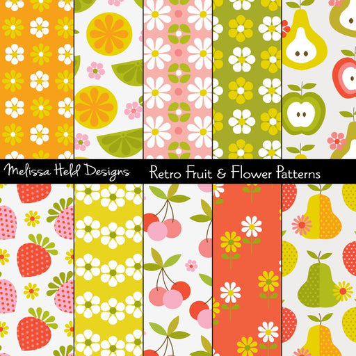 Retro Fruit and Flower Patterns Digital Paper & Backgrounds Melissa Held Designs    Mygrafico
