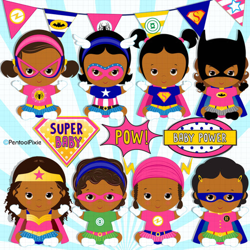 Baby girl superheroes clipart – African American